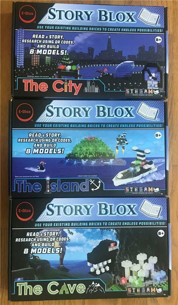 3 E-Blox Story Blox Sets The Island, The City, The Cave  New Free Shipping