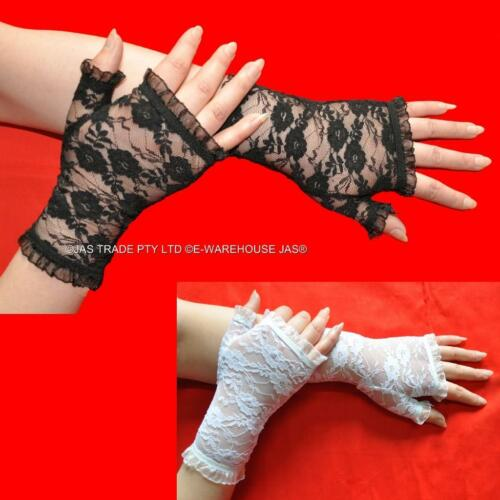 Party Punk Goth Gothic 80/'s 20s Gloves Lace Fingerless Stretchy Ruffled Cuffs