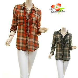Victorian-Faux-Silk-Chiffon-Plaid-Sheer-Ruffle-Lace-Peasant-Blouse-Shirt-Top-NWT