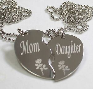 119e31230 Image is loading PERSONALIZED-SPLIT-HEART-MOTHER-DAUGHTER -NECKLACE-SET-STAINLESS-