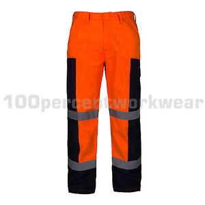 Aqua-Orange-High-Visibility-Polycotton-Ballistic-Mens-Work-Trousers-Pants-Hi-Viz