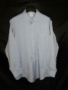 Brooks-Brothers-18-35-Classic-Fit-Blue-Shirt-Long-Sleeve-Non-Iron-Supima-Cotton