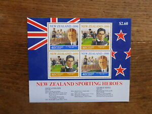 NEW-ZEALAND-HEALTH-STAMPS-1990-SPORTING-HEROES-4-STAMP-MINI-SHEET-MNH