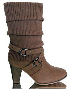 Femme-Bottes-Bottines-hiver-Cowboy-Talon-Haut-Bottier-Zip-Cheville-fourrees