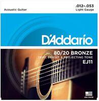 2 Sets D'Addario EJ11 Light Acoustic Guitar Strings 80/20 Bronze 12-53