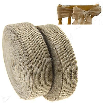 50mmX1//2//3//5//10m Natural Jute Burlap Hessian Ribbon Roll Wedding Party Decor UK