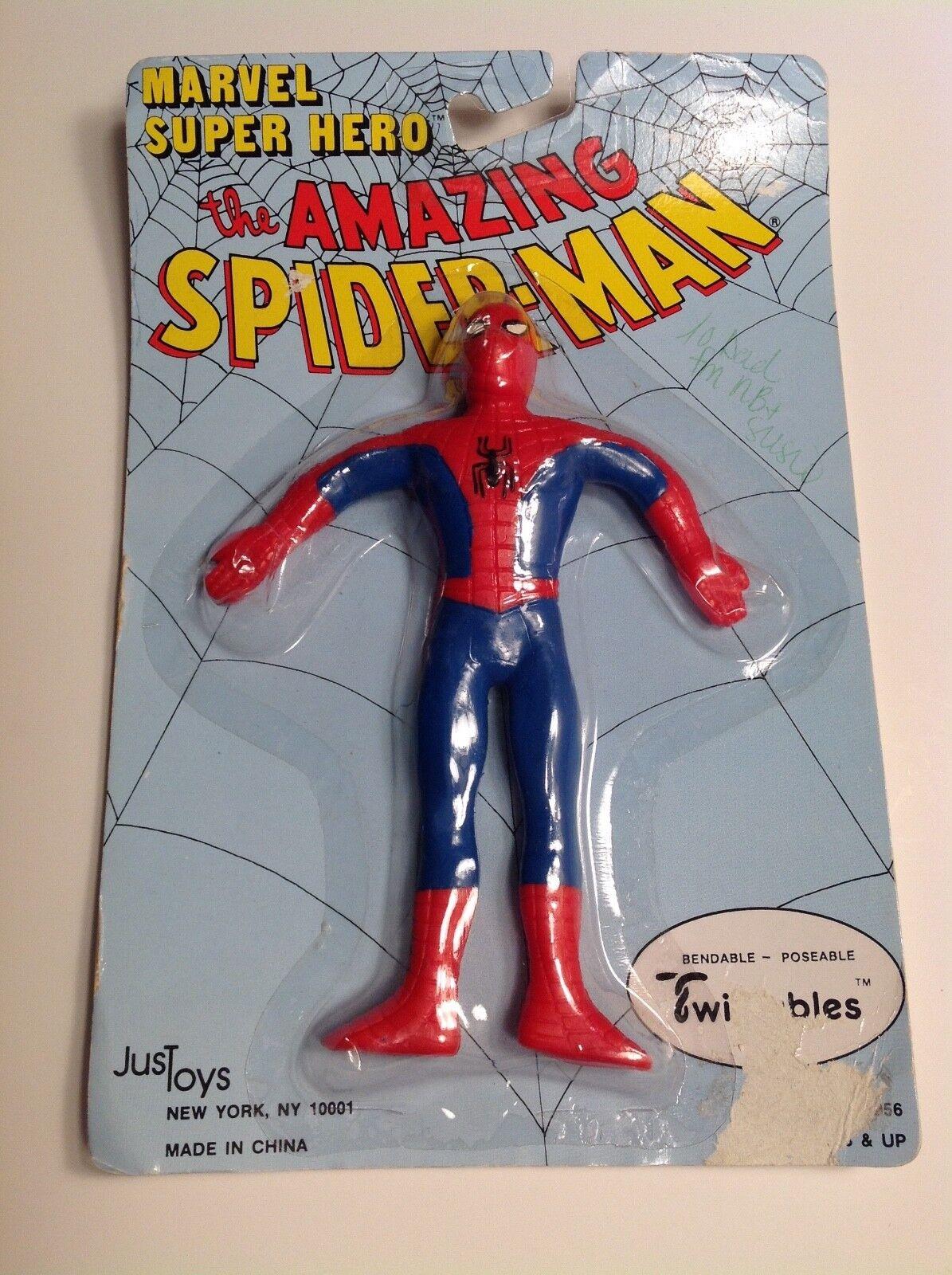 Marvel Super Hero Amazing Spider-Man Twistables Bendable figure MOC 1989 Justoys