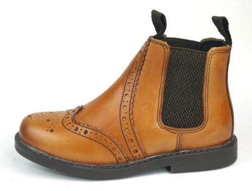 Frank James Cheltenham Boys Girls Brogue Chelsea Leather Boots Tan Antique