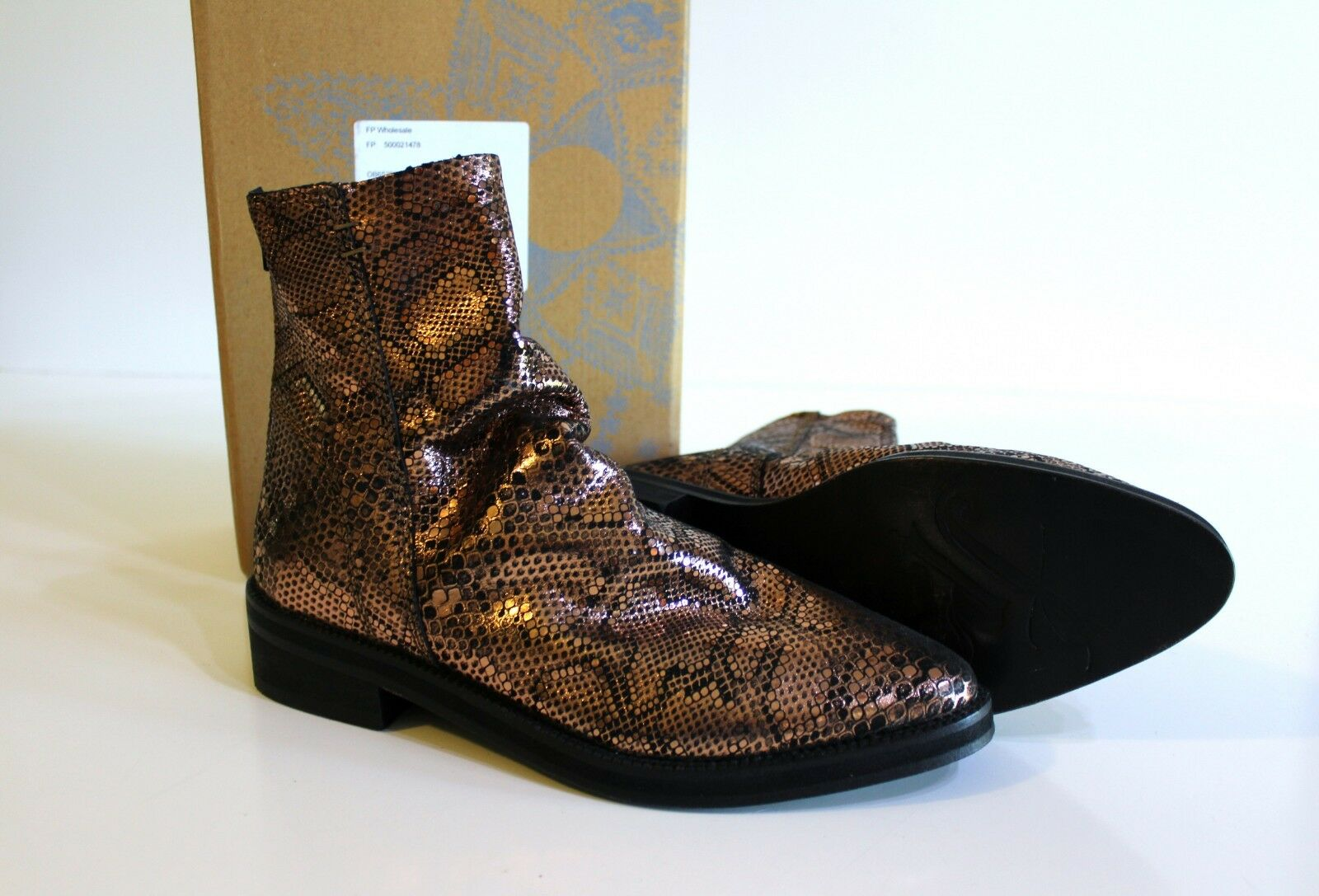 Free People Amarone Leather Ankle Boots Size 38 7.5 8 Bronze Snakeskin  168 NEW
