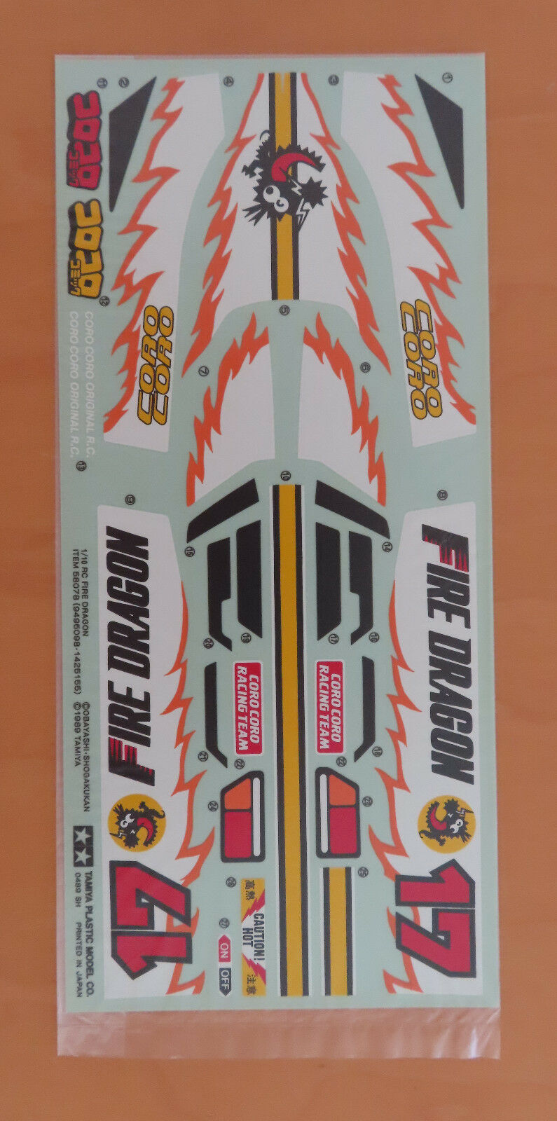 RC Tamiya Decal Fire Dragen 58078 NEU NIB 1989