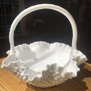 Vintage-Large-Hobnail-Milk-Glass-11-034-Basket-Crimped-Ruffled-Fruit-Candy-DC