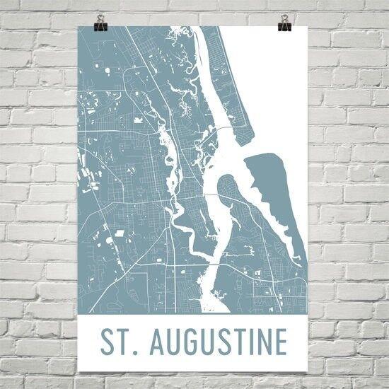 St. Augustine FL Street Map Poster