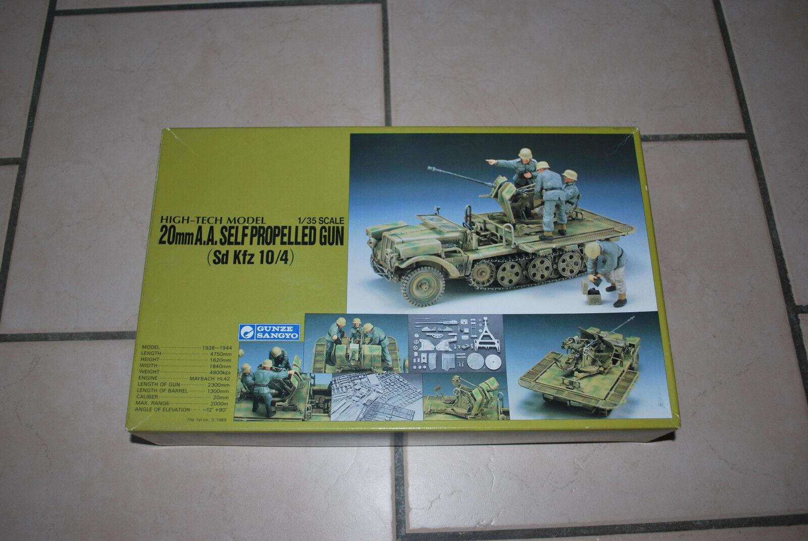 1 35 Gunze Sangyo High Tech Model Sd.Kfz 10 4, 20mm Gun, RAR, Weiß metal, PE