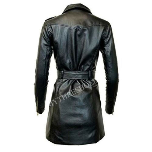 in vera lunga donna Cintura con pelle da Trench zip lunga 8pn0Op