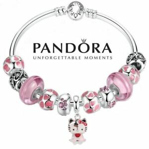 402cf51a5 Image is loading Authentic-Pandora-Charm-Bangle-S925-Silver-Bracelet-Pink-