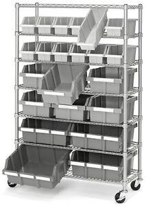 Charmant Details About Commercial Garage Rolling 22 Bin Storage Rack Steel Frame  Shelving Unit 4 Wheels