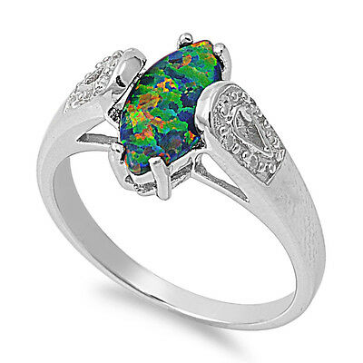 .925 Sterling Silver Marquise Cut Simulated Black Opal Clear CZ Promise Ring NEW