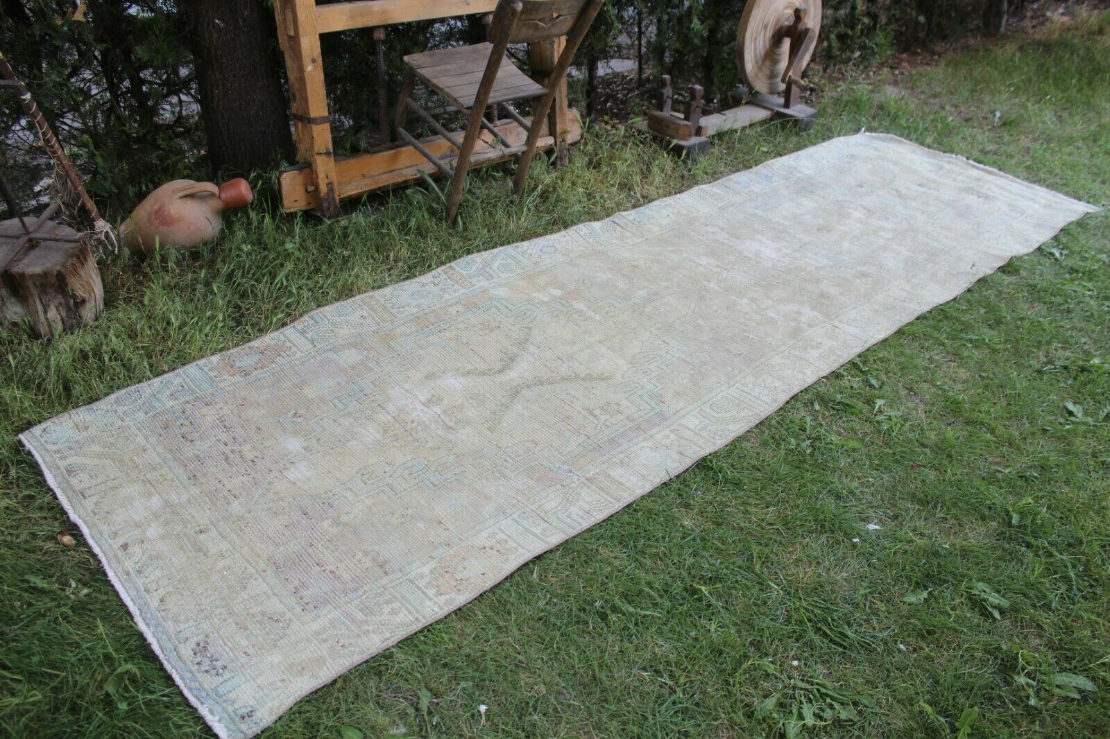 Vintage Largo Alfombra turca pequeñas Runner alfombra hecha a mano 139 x42