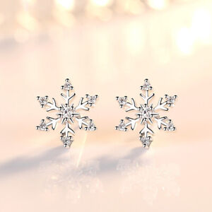 Snowflake-Crystal-Stud-Earrings-925-Sterling-Silver-Womens-Girls-Jewellery-Gift