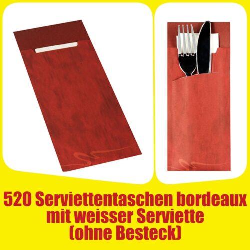 520 Bestecktaschen 20 cm x 8,5 cm bordeaux inkl weißer Serviette 33x33 cm 2-lag