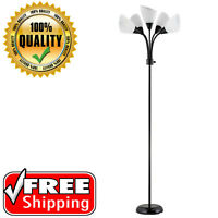Black Adjustable Contemporary Floor Lamp 5 Bulb Lights Modern Home Room Stand