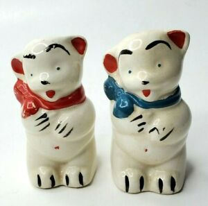Vintage Shawnee Pottery Bears with Bows Salt and Pepper Shakers
