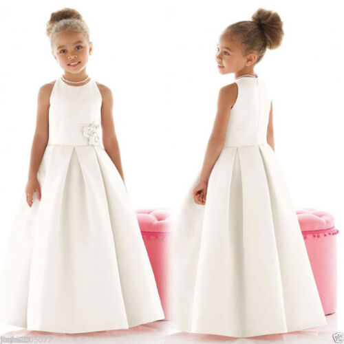 Wedding Flower Girl Dress Communion Party Prom Princess Pageant Bridesmaid Satin