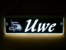 Trucker LKW Namensschild,LED beleuchtet, Uwe oder Wunschname,BLENDFREI, 12V-24V