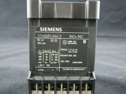 SIEMENS RELAY CONTACTOR 3TH2031-0AC2 3NO+1NC