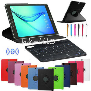 Bluetooth-Keyboard-360-Rotating-PU-Leather-Case-Cover-For-Samsung-Tablets-Gift