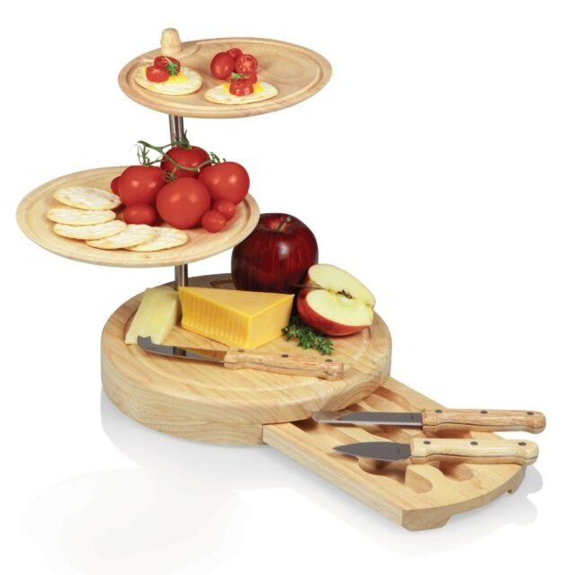 Picnic Time REGALIO CHEESE BOARD AND SERVING TRAY three-tiered combination Tray