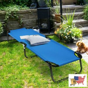 Blue Folding Camping Bed Outdoor Portable Military Cot Sleeping Hiking Travel