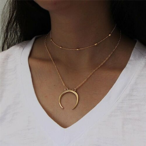 ELEGANT GOLD LINK BOHO CHAIN NECKLACE 2 Layer  GIFT PRESENT CRESCENT LADIES CTH1