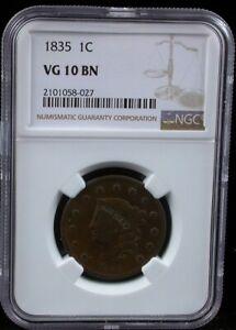 1835 - 1839 Matron Head Large Cent Penny - Vg Details