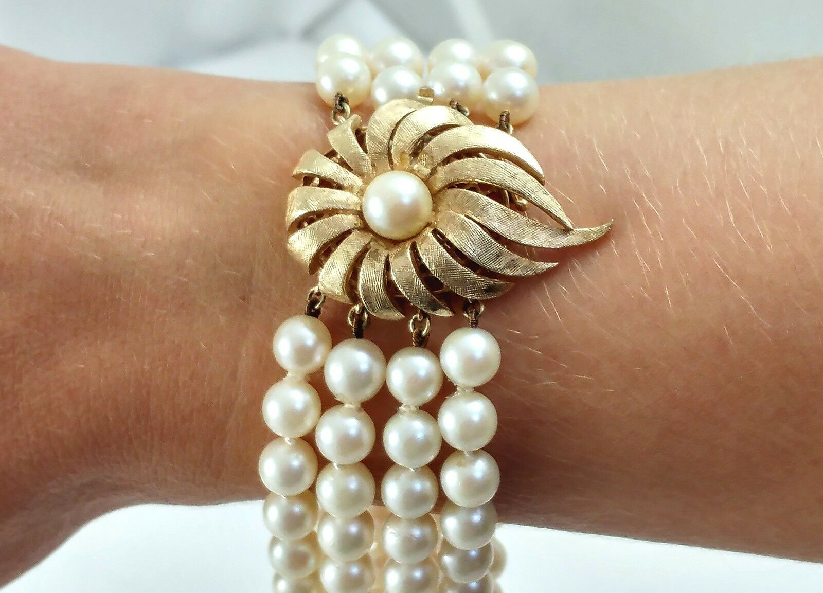 Bracciale perle quattro quattro quattro RIGA mozzafiato 14 CT oro 8  Long VINTAGE SIMPSONS USA IN SCATOLA b0c6f7