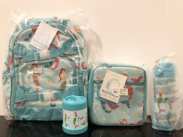 New Pottery Barn Kids Aqua Mermaid Large Backpack Lunch