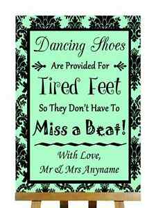 Verde menta Negro zapatos de baile con los pies cansados Personalizado Boda Signo