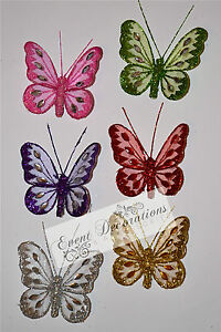 Glittered-Jewelled-Mesh-Butterflies-Clip-On-8cm-Pack-of-12-Many-Colours