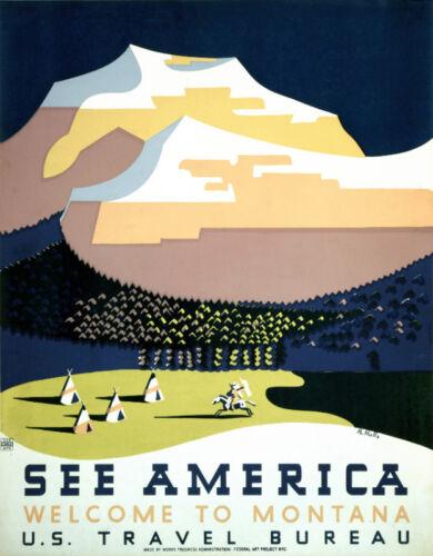 Vintage Art POSTER.Stylish Graphics.Montana.Indian.Room art Decor.527