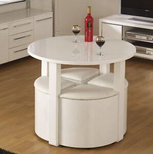 Space saving dining table small breakfast room white high for Small space table and chair set