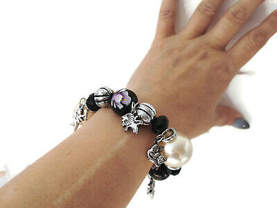 White /& silver tone /& diamante acrylic elasticated big chunky beaded bracelet **