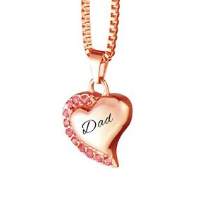 Dad rose gold heart pink crystals urn pendant necklace cremation ash image is loading dad rose gold heart pink crystals urn pendant mozeypictures Image collections