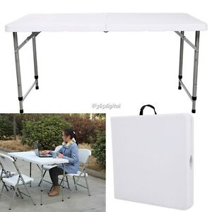 Image Is Loading 4FT White Party Outdoor Folding Trestle Table Height