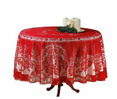 Tischdecke Rund Ø 180 cm weiß Tischtuch Tafeltuch Garten Hochzeit Bügelfrei