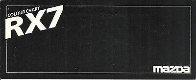 MAZDA RX7 COLOUR CHART CARD.