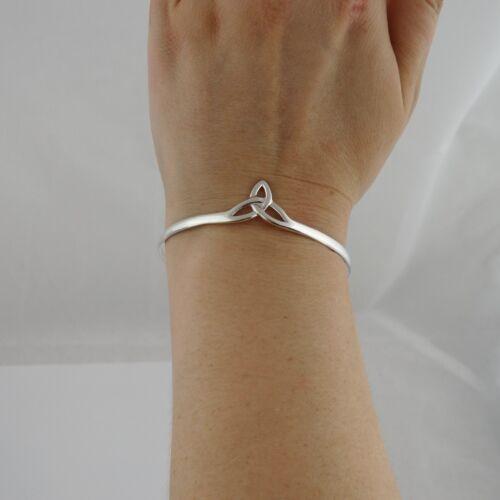 925 Sterling Silver Celtic Knot Trinity Bangle Bracelet Irish Triquetra NEW