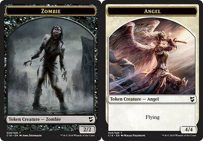 English Commander 2018 MTG Magic 10x Zombie Token //// Angel Token NM-Mint