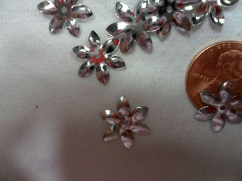 Vintage Metallic Silver Daisy shaped sequins 60 pcs.