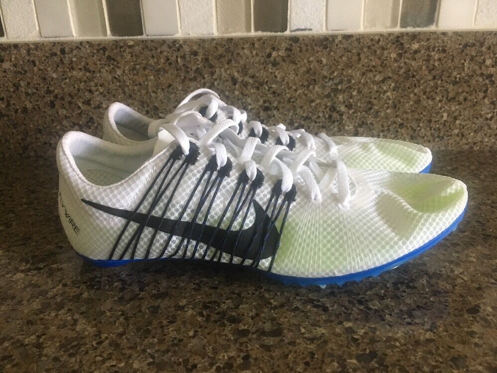NIKE Victory 2 Mid Distance Track Spikes White/Black 555365-100 Sz 10.5-12