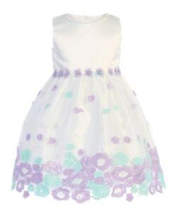New Striped Tulle Girls Dress Baby Toddler Kids Wedding Easter Birthday 206